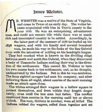 James Webster story from the book Indian Depredations in Texas by J. W. Wilbarger