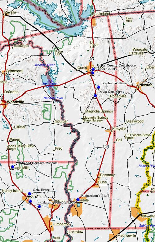 Map of Jasper County Historic Sites