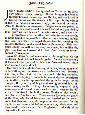 John Eagleston story from the book Indian Depredations in Texas by J. W. Wilbarger