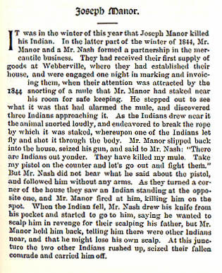 Joseph Manor story from the book Indian Depredations in Texas by J. W. Wilbarger
