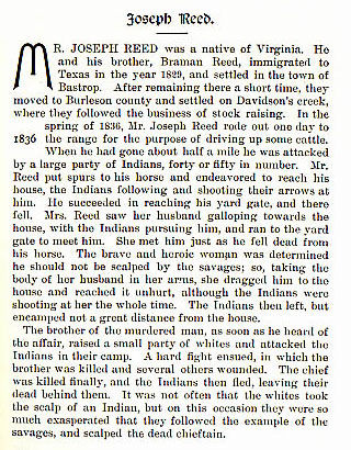 Joseph Reed story from the book Indian Depredations in Texas by J. W. Wilbarger