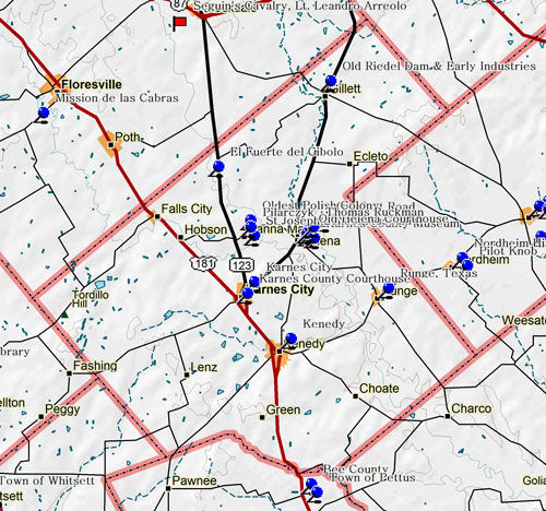 Map of Karnes County Historic Sites