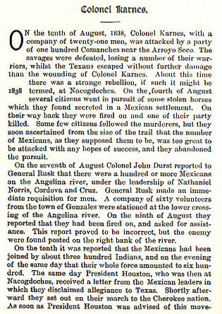 Colonel Karnes story from the book Indian Depredations in Texas by J. W. Wilbarger