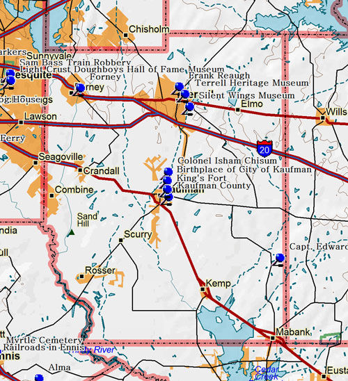 Map of Kaufman County Historic Sites