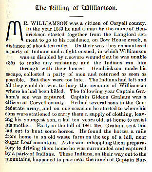 The Killling of Williamson story from the book Indian Depredations in Texas by J. W. Wilbarger