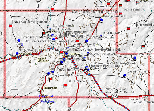 Map of Kimble County Historic Sites