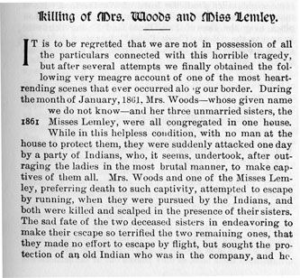 Killing of Mrs. Woods and Miss Lemley story from the book Indian Depredations in Texas by J. W. Wilbarger