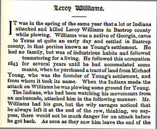 Leroy Williams story from the book Indian Depredations in Texas by J. W. Wilbarger
