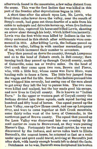 Lewis, Brown, Pierce and Elam story from the book Indian Depredations in Texas by J. W. Wilbarger