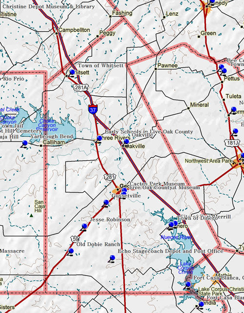 Map of Live Oak County Historic Sites