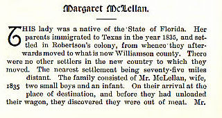 Margaret McLellan story from the book Indian Depredations in Texas by J. W. Wilbarger