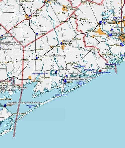 Map of Matagorda County Historic Sites