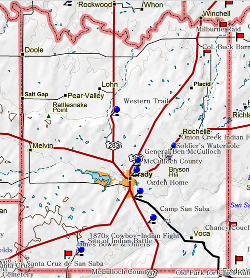Map of McCulloch County Historic Sites