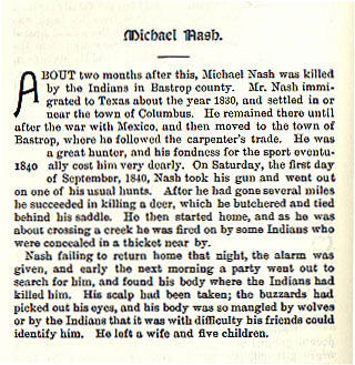 Michael Nash story from the book Indian Depredations in Texas by J. W. Wilbarger