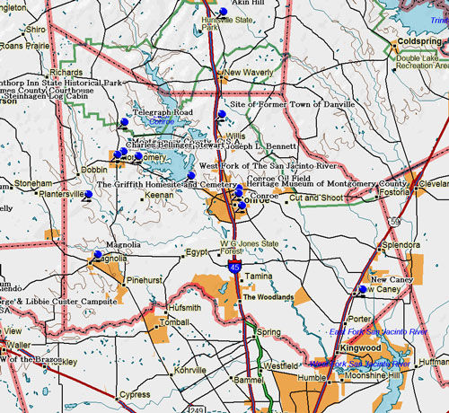 Map of Montgomery County Historic Sites