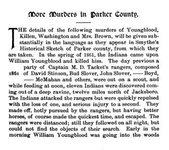 More Murders in Parker County story from the book Indian Depredations in Texas by J. W. Wilbarger