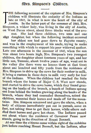 Mrs. Simpson's Children story from the book Indian Depredations in Texas by J. W. Wilbarger