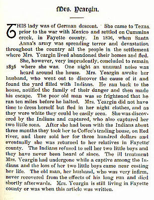 Mrs. Yeargin story from the book Indian Depredations in Texas by J. W. Wilbarger