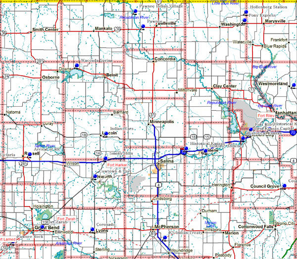 Map of North Central Kansas Historical Markers