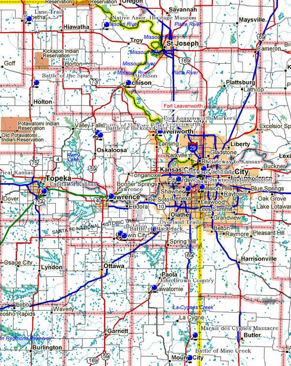 Map of Northeast Kansas Historical Markers