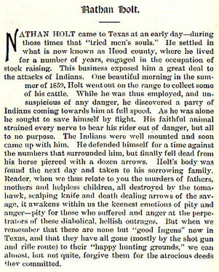 Nathan Holt story by Wilbarger