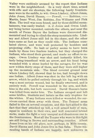 Owen Lindsey Killed story from the book Indian Depredations in Texas by J. W. Wilbarger