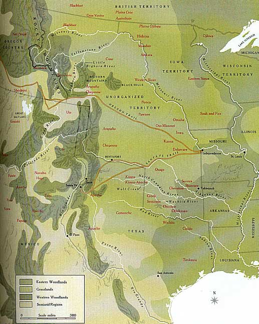 Map of 1840 Plains Tribes