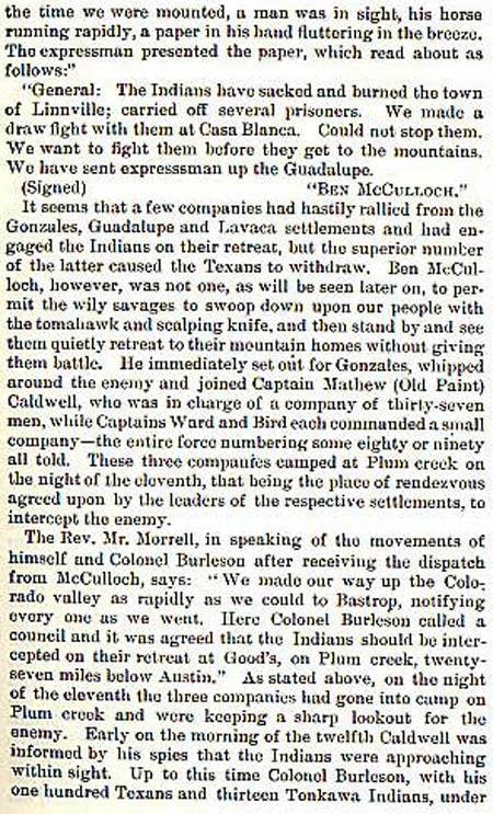 Battle of Plum Creek by Wilbarger