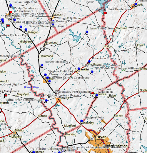 Map of Robertson County Historic Sites