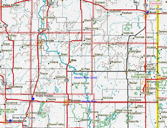 Map of Southeast Kansas Historical Markers