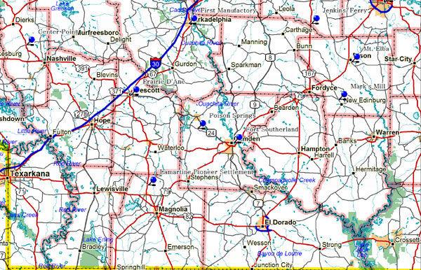 Map of Southwest Arkansas Historical Markers