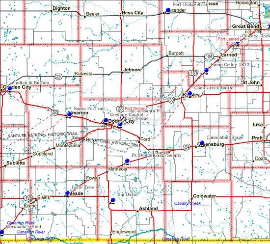 Map of Southwest Kansas Historical Markers