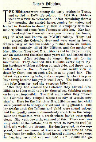 Sarah Hibbins story from the book Indian Depredations in Texas by J. W. Wilbarger