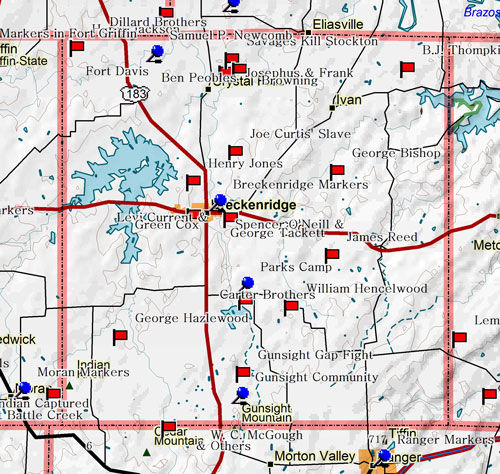 Map of Stephens County