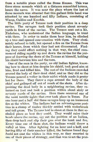 The Stone House Fight story from the book Indian Depredations in Texas by J. W. Wilbarger