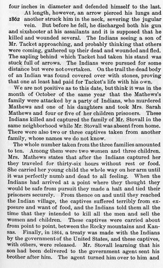 Marion Tacket - Sarah Mathews story from the book Indian Depredations in Texas by J. W. Wilbarger