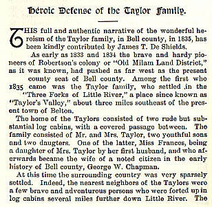 Heroic Defense of the Taylor Family story from the book Indian Depredations in Texas by J. W. Wilbarger
