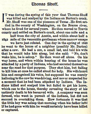 Thomas Schuff story from the book Indian Depredations in Texas by J. W. Wilbarger