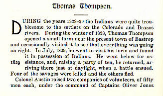 Thomas Thompson story from the book Indian Depredations in Texas by J. W. Wilbarger