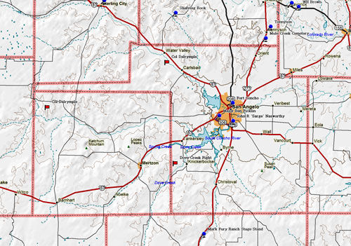 Map of Tom Green County