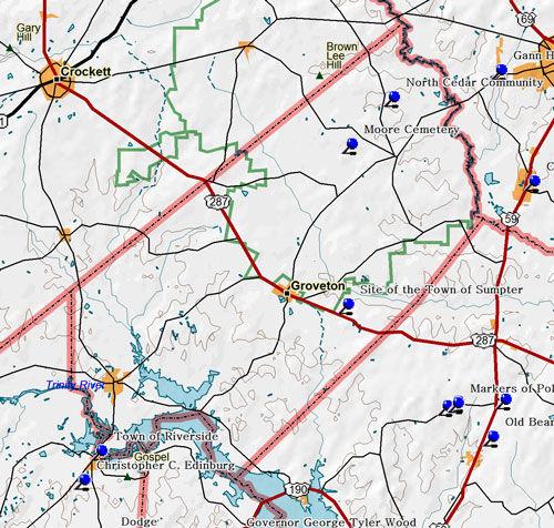 Map of Trinity County