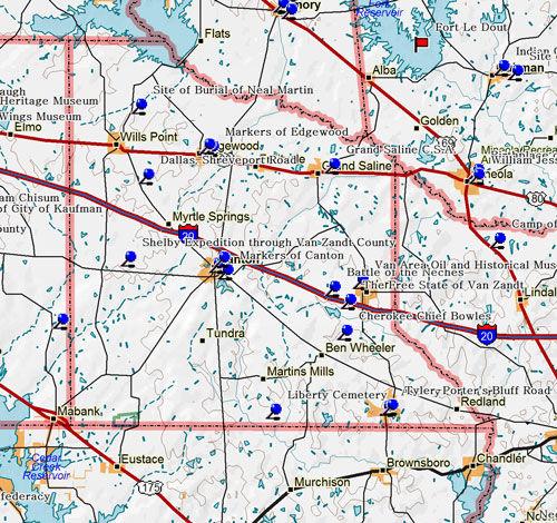 Map of Van Zandt County