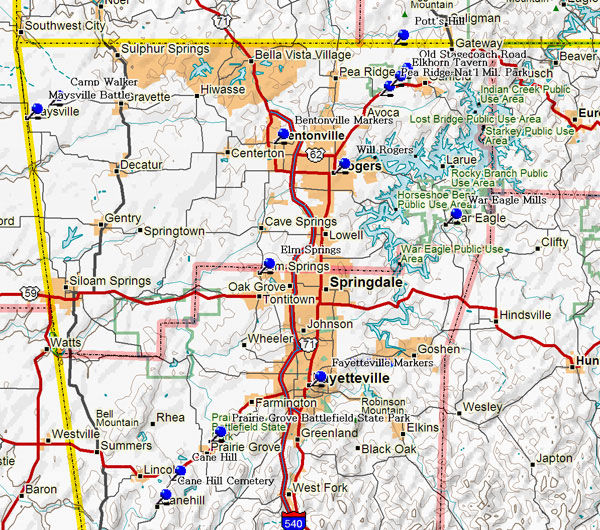 Map of Western NW Arkansas Historical Markers