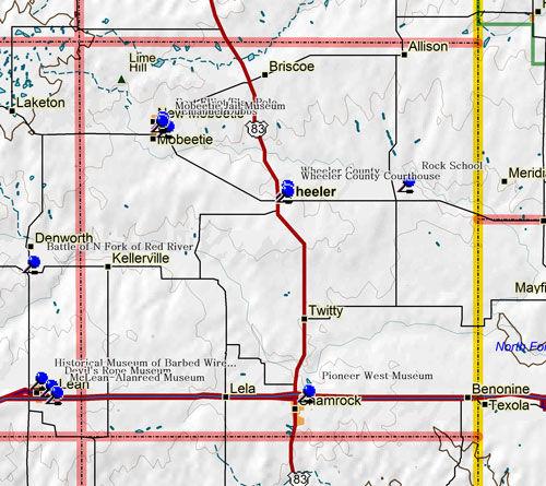 Map of Wheeler County