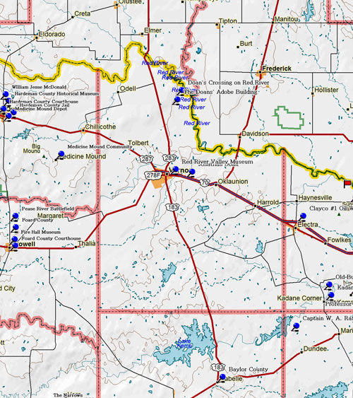 Map of Wilbarger County