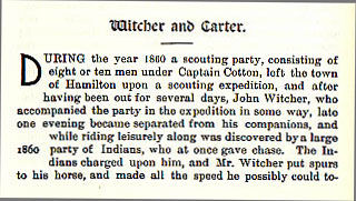 Witcher and Carter story from the book Indian Depredations in Texas by J. W. Wilbarger