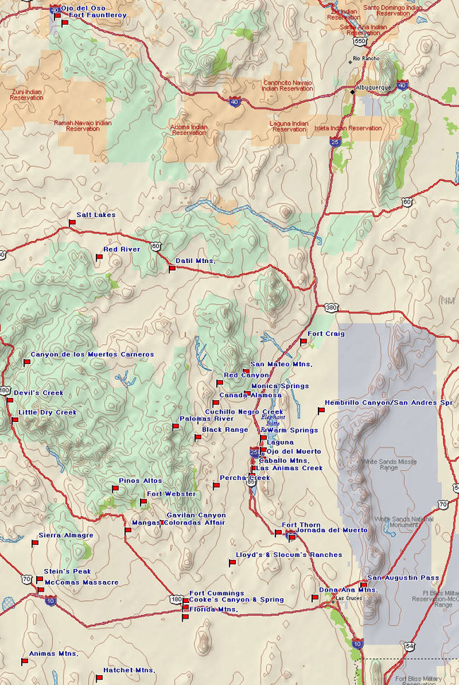 Map of Eastern Apacheria Battles
