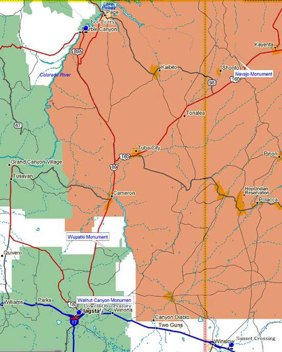 Map of Northeast Arizona Historical Markers