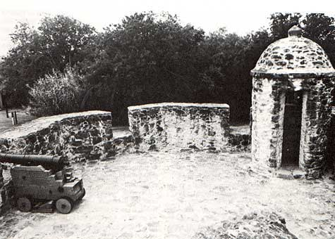 Picture of gun platform taken by Charles M. Robinson, III from the book, Frontier Forts of Texas