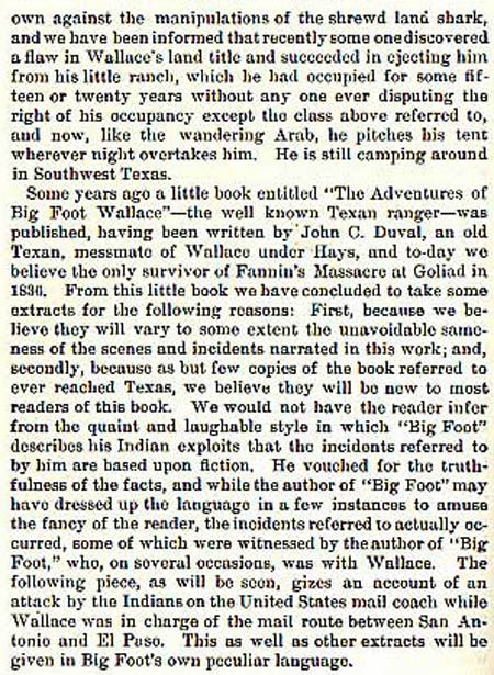 Big Foot Wallace story by Wilbarger